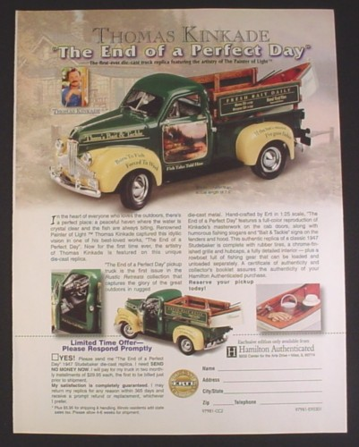 Magazine Ad for Thomas Kinkade The End Of A Perfect Day 1947 Studebaker Diecast Truck, 2001