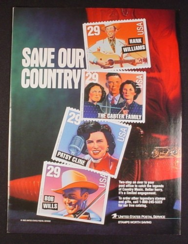 Magazine Ad for Legends of Country Music Postage Stamps, USPS, 1993