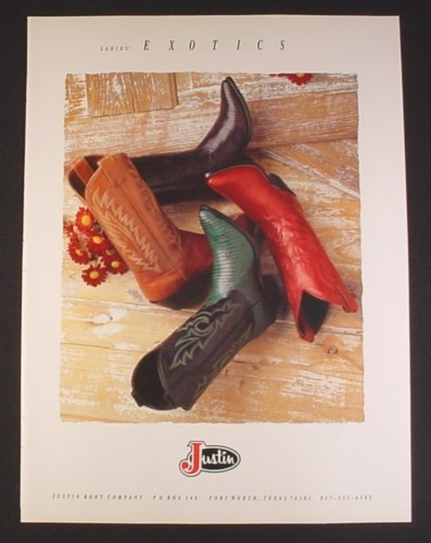 Magazine Ad for Justin Boot Company, Ladies Exotics Cowboy Boots, 4 Styles, 1993