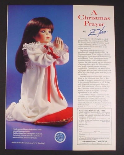 Magazine Ad for A Christmas Prayer Doll, Donald Zolan, Hamilton, 1993
