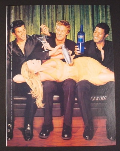 Magazine Ad for Skyy Vodka #32 Assembly Line, 2003, Sexy Woman Laying Across 3 Men's Laps