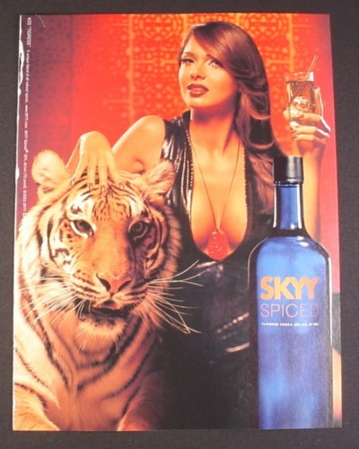 Magazine Ad for Skyy Vodka #20 Tigress, 2003, Sexy Woman With Tiger