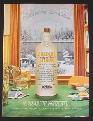 Magazine Ad for Absolut Citron, Absolut Winter, 2003