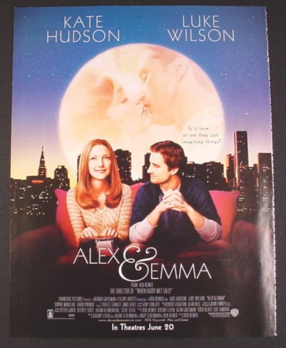 Magazine Ad for Alex & Emma Movie, Kate Hudson, Luke Wilson, 2003