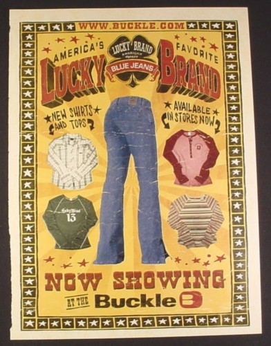 Magazine Ad for Lucky Brand Blue Jeans, Shirts, 2003