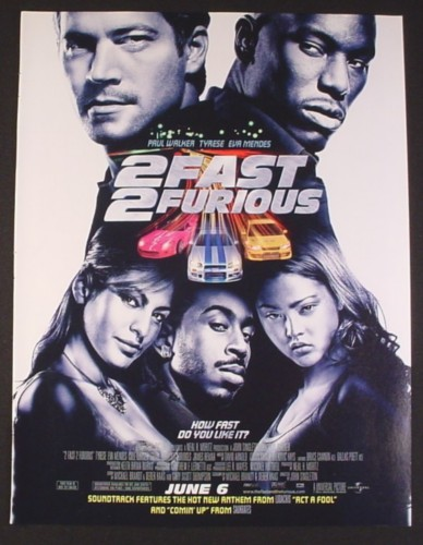 Magazine Ad for 2 Fast 2 Furious Movie, Pal Walker, Tyrese, Eva Mendes, 2003