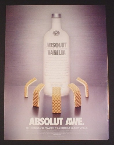Magazine Ad for Absolut Vanilla, Absolut Awe, Wafer Cookies Bowing, 2003