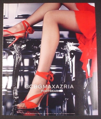 Magazine Ad for BCBG Maxazria Footwear, Red Shoes, 2004