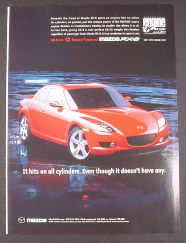 Magazine Ad for Mazda RX-8 Sports Car, Red, 2004