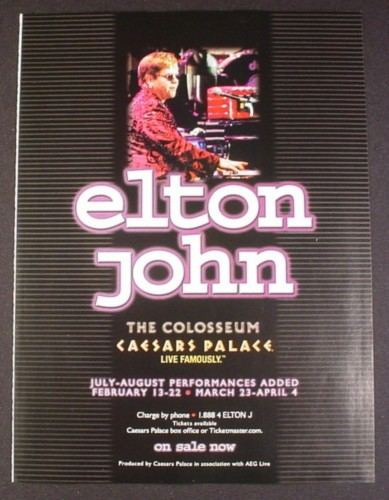 Magazine Ad for Elton John Concerts, The Colosseum Caesars Palace, 2004