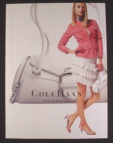 Magazine Ad for Cole Haan Shoes Handbags Coats, White Handbag, Fashion, 2004