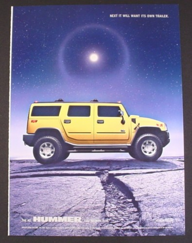 Magazine Ad for Yellow H2 Hummer Vehicle, Moon in Background, 2004