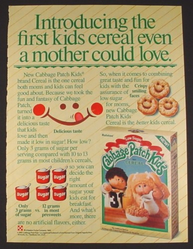 Magazine Ad for Cabbage Patch Kids Cereal, Box & Picture of Cereal, 1985