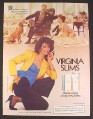Magazine Ad for Virginia Slims Cigarettes, Woman Bringing Slippers To Husband, 1985