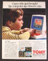 Magazine Ad for Tomy Tutor Play Computer Toy, 1985