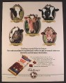 Magazine Ad for Cadbury's Dairy Milk Chocolate Bar, 5 Dairy Cows, 1985