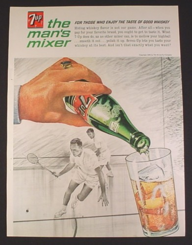 Magazine Ad for 7UP The Man's Mixer, Seven Up, Bottle, Squash Players, 1963