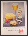 Magazine Ad for Miller High Life Beer in Can, Cheese & Crackers, 1963