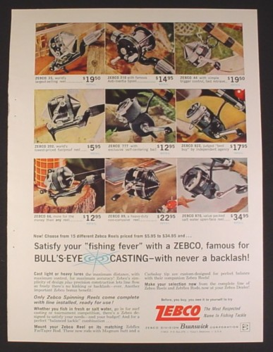 Magazine Ad for Zebco Fishing Reels, 9 Different Models, Spinning & Casting, 1963
