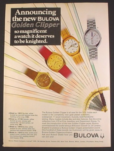 Magazine Ad for Bulova Golden Clipper Watch, 4 Models 12612 371104 12610 11616, 1970
