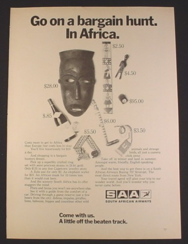 Magazine Ad for South African Airways, SAA, Things To Buy With Prices, 1970
