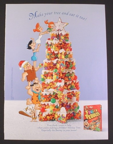 Magazine Ad for Post Fruity Pebbles Cereal, Flintstones With A Treat Tree, 2007