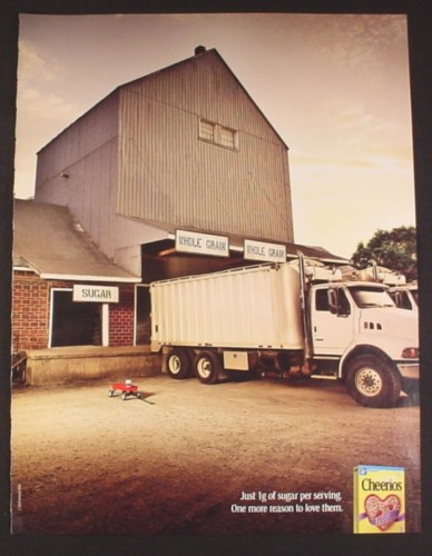 Magazine Ad for Cheerios Cereal, Truck of Grains, Wagon of Sugar, 2008