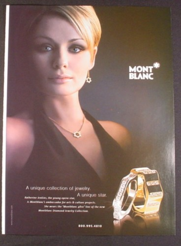 Magazine Ad for Mont Blanc 4810 Line of Rings, Jewelry, Katherine Jenkins Opera Star, 2007