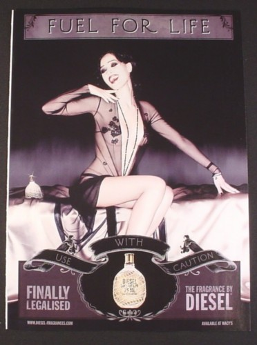 Magazine Ad for Diesel Fragrance, Fuel For Life, Sexy Woman in Shear Dress, 2007