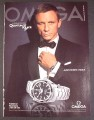 Magazine Ad for Omega Watch, James Bond Quantum of Solace, Daniel Craig Celebrity, 2008