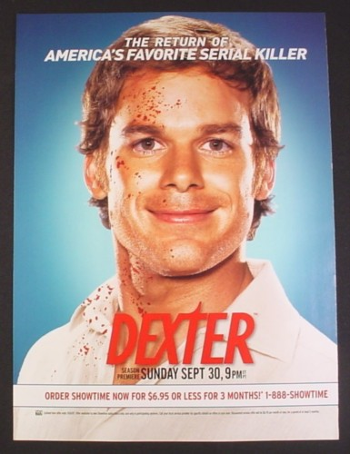 Magazine Ad for Dexter TV Show, Michael C Hall, Blood Spattered Face, Celebrity, 2007