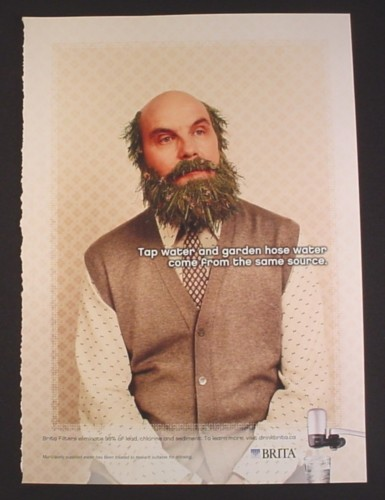 Magazine Ad for Brita Water Filter, Man with Grass Hair & Beard, 2007