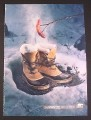 Magazine Ad for Sorel Caribou Winter Boots, Roasting Hot Dog Over Hot Boots, 2007