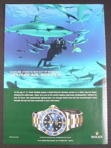 Magazine Ad for Rolex Oyster Perpetual Submariner Date Watch, Sharks, 2007