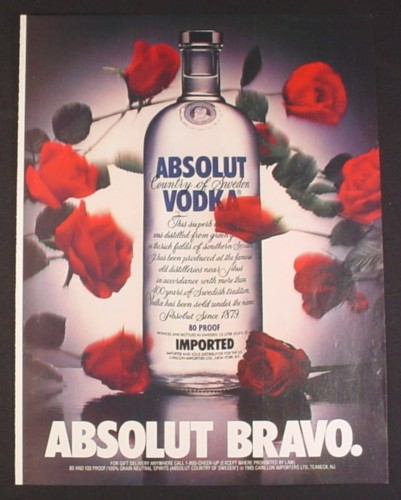 Magazine Ad for Absolut Bravo, Absolut Vodka, Roses Tossed At Bottle, 1991