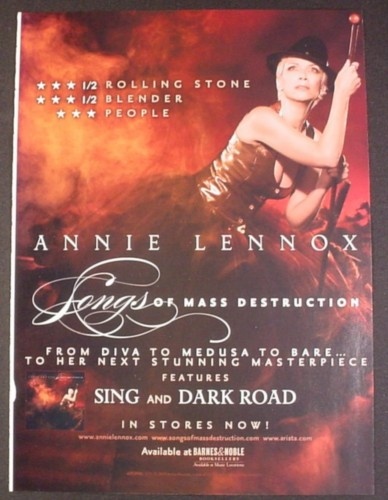 Magazine Ad for Annie Lennox, Songs Of Mass Destruction Album, Celebrity, Music, 2008