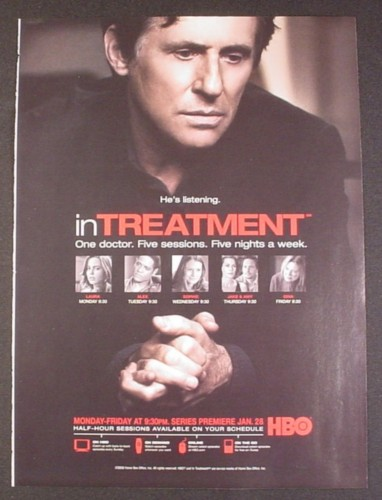 Magazine Ad for In Treatment TV Show, HBO, Gabriel Byrne, Dianne Wiest, Celebrity, 2008