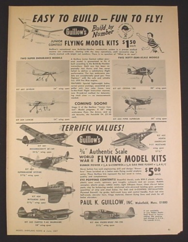 Magazine Ad for Paul K Guillow Inc Flying Model Kits, Various Model Airplanes, 1967