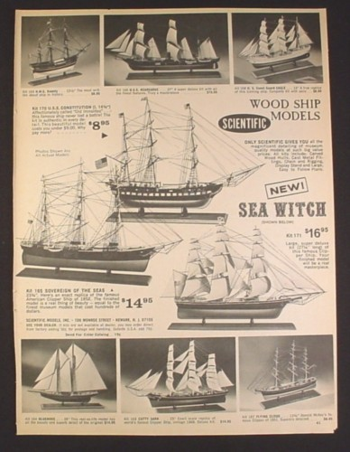 Magazine Ad for Scientific Wood Ship Models, Boats, Toys, 1967