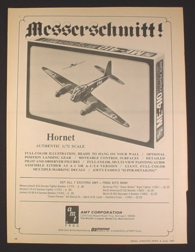 Magazine Ad for AMT Messerschmitt Hornet 1/72 Scale Model, Toys, 1967
