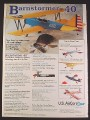 Magazine Ad for U.S. AirCore Barnstormer 40 Model Airplane Kit, Toys, 1997
