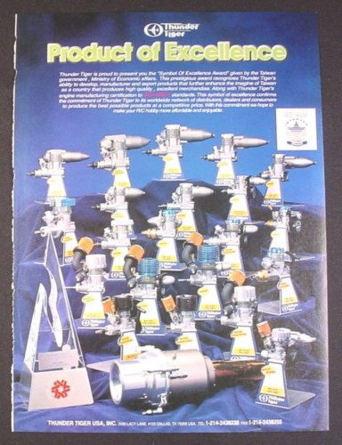 Magazine Ad for Thunder Tiger USA RC Airplane Engines, 1997