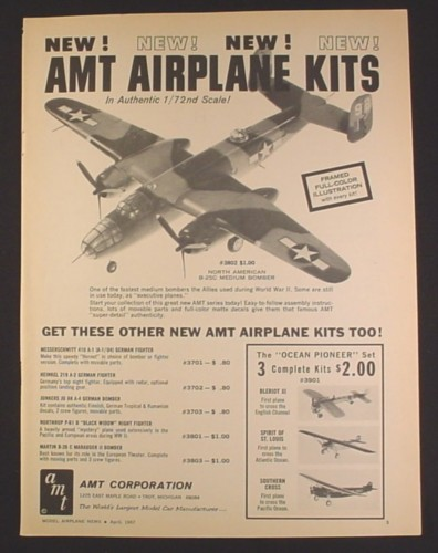 Magazine Ad for AMT North American B-25C Medium Bomber Model Kit, Toys, 1967