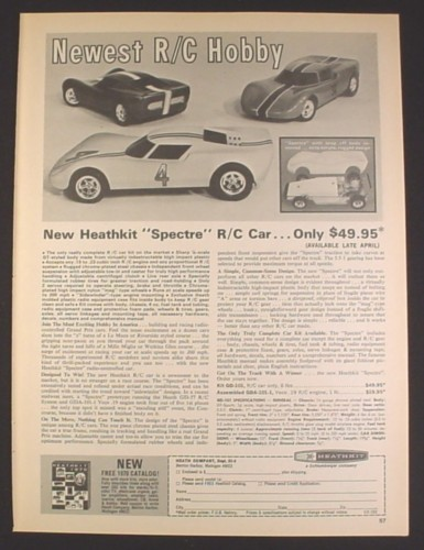 Magazine Ad for Heathkit Spectre R/C Car Model Kit, Toys, 1970