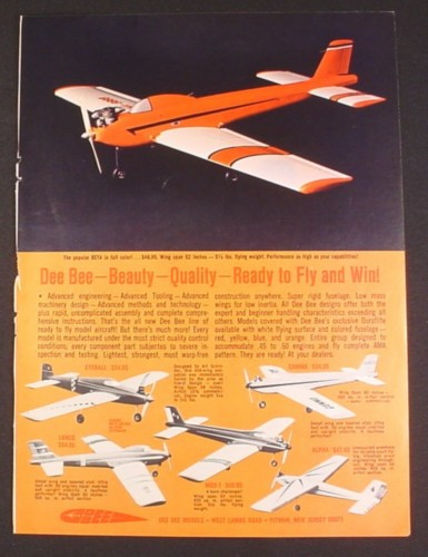 Magazine Ad for Dee Bee Ready To Fly Model Airplanes, 6 Models, Toys, 1970