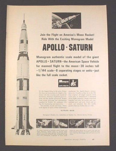 Magazine Ad for Monogram Apollo Saturn Rocket Model Kit, PS193, Toys, 1969