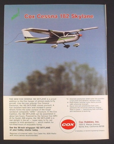 Magazine Ad for Cox Hobbies 182 Cessna Skylane R/C Airplane, Toys, 1985