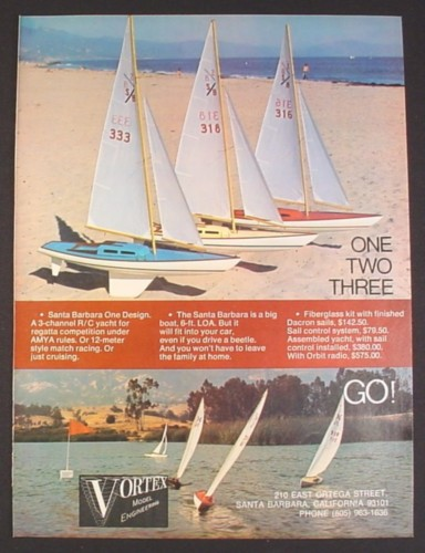 Magazine Ad for Vortex Model Engineering R/C Yachts Boats, Toys, 1971