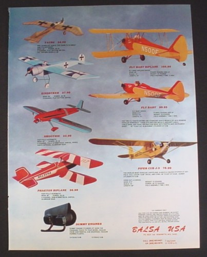 Magazine Ad for Balsa Model Airplane Kits, 7 Different Models, Toys, 1983