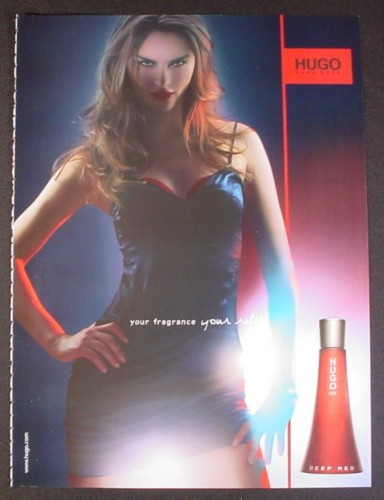 Magazine Ad for Hugo Deep Red Perfume, Sexy Model, Your Fragrance Your Rules, 2005